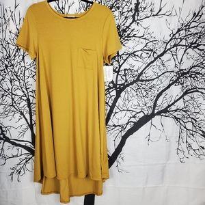 LuLaRoe Carly Dress Mustard Yellow High Low Medium